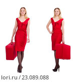 Купить «Travelling woman with suitcase isolated on white», фото № 23089088, снято 12 декабря 2013 г. (c) Elnur / Фотобанк Лори