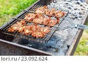 Купить «Мясо жарится на решетке на мангале», фото № 23092624, снято 17 июля 2019 г. (c) FotograFF / Фотобанк Лори