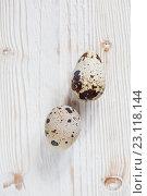 Купить «Перепелиные яйца на светлом деревянном фоне», фото № 23118144, снято 19 июня 2016 г. (c) Юлия Бочкарева / Фотобанк Лори
