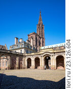 Купить «´Palais Rohan´ Rohan Palace courtyard and cathedral, Strasbourg, Alsace, France.», фото № 23126604, снято 5 декабря 2019 г. (c) age Fotostock / Фотобанк Лори