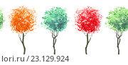 Купить «Бордюр из повторяющихся деревьев. Иллюстрация акварелью. Бесшовный фон.», иллюстрация № 23129924 (c) Марина / Фотобанк Лори