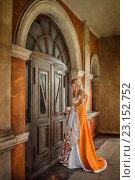 Купить «Девушка в средневековом наряде стоит у двери с ключами в руках», фото № 23152752, снято 18 июня 2016 г. (c) Евгения Литовченко / Фотобанк Лори