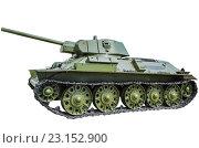 Купить «Советский танк T-34/57 на белом фоне», фото № 23152900, снято 11 июня 2015 г. (c) Сергей Завьялов / Фотобанк Лори