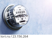 Купить «Analog electric meter on the wall. Electricity consumption concept.», фото № 23156264, снято 25 мая 2019 г. (c) Maksym Yemelyanov / Фотобанк Лори