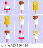 Бесшовный фон с мороженым и конфетами. Стоковая иллюстрация, иллюстратор Алина Чебыкина / Фотобанк Лори