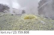 Купить «Фумарола, выход серы в кратере действующего Мутновского вулкана на Камчатке», видеоролик № 23159808, снято 16 сентября 2019 г. (c) А. А. Пирагис / Фотобанк Лори