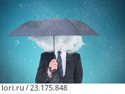 Купить «Composite image of unsmiling businessman sheltering under umbrella», фото № 23175848, снято 25 марта 2019 г. (c) Wavebreak Media / Фотобанк Лори