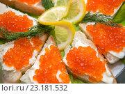 Купить «Хлеб с маслом и красной икрой украшенные лимоном и укропом. Макро.», фото № 23181532, снято 31 декабря 2015 г. (c) Pukhov K / Фотобанк Лори