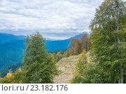 Осенний горный пейзаж возле Сочи. Стоковое фото, фотограф Валерий Смирнов / Фотобанк Лори