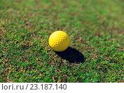 Купить «close up of yellow golf ball on green grass», фото № 23187140, снято 30 августа 2015 г. (c) Syda Productions / Фотобанк Лори