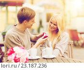 Купить «romantic man proposing to beautiful woman», фото № 23187236, снято 6 сентября 2013 г. (c) Syda Productions / Фотобанк Лори