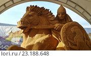 Купить «Фигура из песка, воин на коне, выставка в Сочи Парке», фото № 23188648, снято 1 июня 2016 г. (c) DiS / Фотобанк Лори