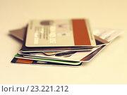Купить «Кредитные карты», фото № 23221212, снято 20 июля 2019 г. (c) Sergejs Rahunoks / Фотобанк Лори