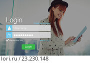 Купить «Login screen with redheaded woman and pad», фото № 23230148, снято 25 сентября 2018 г. (c) Wavebreak Media / Фотобанк Лори