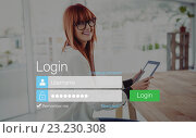 Купить «Log-in screen with redheaded woman and pad device», фото № 23230308, снято 25 сентября 2018 г. (c) Wavebreak Media / Фотобанк Лори