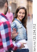 Купить «Girl smiling back at stranger», фото № 23234312, снято 27 февраля 2020 г. (c) Яков Филимонов / Фотобанк Лори