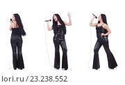Купить «Woman singing in karaoke club in various poses on white», фото № 23238552, снято 21 ноября 2018 г. (c) Elnur / Фотобанк Лори