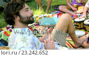 Купить «Hipster man drinking and enjoying», видеоролик № 23242652, снято 5 июня 2020 г. (c) Wavebreak Media / Фотобанк Лори