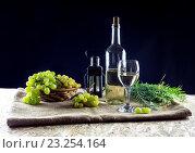 Купить «Бутылка с вином и зелёный виноград», фото № 23254164, снято 14 июля 2016 г. (c) Татьяна Ляпи / Фотобанк Лори