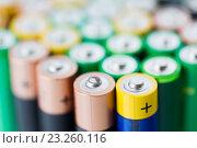 Купить «close up of alkaline batteries», фото № 23260116, снято 3 июня 2016 г. (c) Syda Productions / Фотобанк Лори
