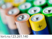 Купить «close up of alkaline batteries», фото № 23261140, снято 3 июня 2016 г. (c) Syda Productions / Фотобанк Лори