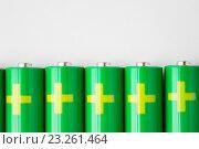 Купить «close up of green alkaline batteries», фото № 23261464, снято 3 июня 2016 г. (c) Syda Productions / Фотобанк Лори