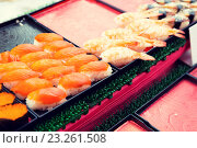 Купить «sushi sets at asian street market», фото № 23261508, снято 7 февраля 2015 г. (c) Syda Productions / Фотобанк Лори