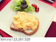 Купить «close up of toasted white bread on plate», фото № 23261520, снято 15 февраля 2015 г. (c) Syda Productions / Фотобанк Лори