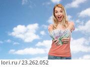 Купить «happy young woman with euro cash money», фото № 23262052, снято 30 апреля 2016 г. (c) Syda Productions / Фотобанк Лори