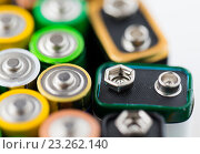 Купить «close up of alkaline batteries», фото № 23262140, снято 3 июня 2016 г. (c) Syda Productions / Фотобанк Лори
