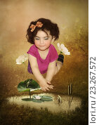 Малышка и лягушонок. Стоковая иллюстрация, иллюстратор Маргарита Нижарадзе / Фотобанк Лори