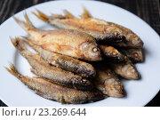 Купить «Жареная рыба на белой тарелке», фото № 23269644, снято 26 июля 2014 г. (c) Александр Коротун / Фотобанк Лори