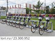 Купить «Прокат велосипедов летом», фото № 23300952, снято 23 июля 2016 г. (c) Victoria Demidova / Фотобанк Лори