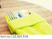 Купить «close up of cutlery set on table», фото № 23301516, снято 15 февраля 2015 г. (c) Syda Productions / Фотобанк Лори