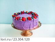 Красивый торт, украшенный ягодами. Стоковое фото, фотограф Елена Поминова / Фотобанк Лори