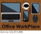 Ноутбук, смартфон, чашка кофе и планшет на рабочем месте. Стоковая иллюстрация, иллюстратор David Murk / Фотобанк Лори