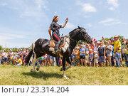 Купить «Девочка казачка скачет на лошади», фото № 23314204, снято 18 июня 2016 г. (c) Акиньшин Владимир / Фотобанк Лори