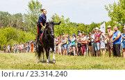 Купить «Девочка-казачка скачет на лошади», фото № 23314240, снято 18 июня 2016 г. (c) Акиньшин Владимир / Фотобанк Лори