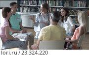 Купить «Sitting people on psychotherapy», видеоролик № 23324220, снято 15 июля 2016 г. (c) Raev Denis / Фотобанк Лори