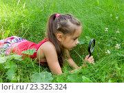 Купить «Девочка смотрит на цветы через увеличительное стекло», фото № 23325324, снято 27 июля 2016 г. (c) Лариса Капусткина / Фотобанк Лори