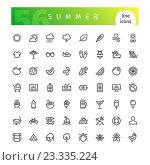 Набор летних иконок. Стоковая иллюстрация, иллюстратор Viachaslau Vaitsenok / Фотобанк Лори