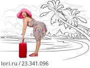 Купить «Young woman travelling tropical island in travel concept», фото № 23341096, снято 23 января 2020 г. (c) Elnur / Фотобанк Лори