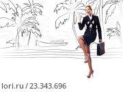 Купить «Businesswoman dreaming of beach vacation», фото № 23343696, снято 23 января 2020 г. (c) Elnur / Фотобанк Лори