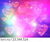 Купить «Стеклянные прозрачные сердечки на сине-розовом фоне с бликами», иллюстрация № 23344524 (c) Николай Полыгалин / Фотобанк Лори