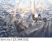 Купить «Морозные узоры на оконном стекле», фото № 23344532, снято 18 декабря 2009 г. (c) Dina / Фотобанк Лори