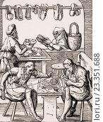Shoemaker. 19th century reproduction of 16th century woodcut by Jost Amman. (2006 год). Редакционное фото, фотограф Classic Vision / age Fotostock / Фотобанк Лори
