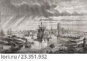 "Dunkerque France, Dunkirk in the 18th century. Engraved by Hildibrand after Breton. From ""Histoire de la Revolution Francaise"" by Louis Blanc. Редакционное фото, фотограф Classic Vision / age Fotostock / Фотобанк Лори"