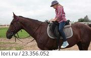 Купить «Маленькая девочка сидит верхом на лошади», видеоролик № 23356052, снято 27 июля 2016 г. (c) Кекяляйнен Андрей / Фотобанк Лори