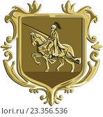 Купить «Рыцарь верхом на коне, эмблема в форме герба», иллюстрация № 23356536 (c) Aloysius Patrimonio / Фотобанк Лори