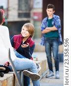 Купить «Teen took offence at friends», фото № 23358596, снято 8 июля 2020 г. (c) Яков Филимонов / Фотобанк Лори